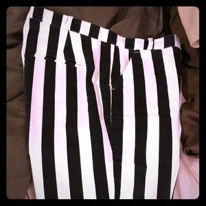 Top shop black and white striped cotton jeans.